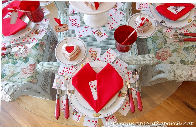 Valentine's Day Tablscape with Heart Napkin Fold