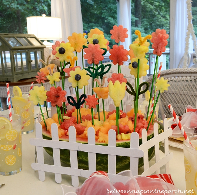 Carved Watermelon Flower-Garden Centerpiece