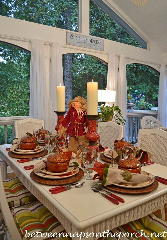 Fall Table Setting on the Porch