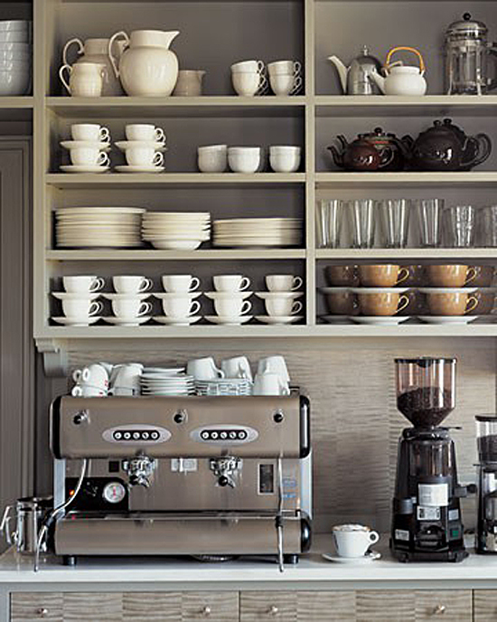 Open Shelves in Martha Stewart's Kitchen at Cantitoe Corners in Bedford