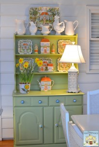 Porch Hutch Decorated for Spring