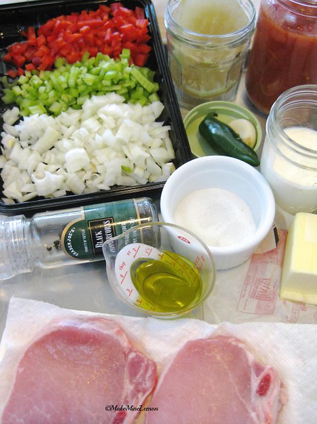 Pork Chop and Tomato Gravy Mise en place