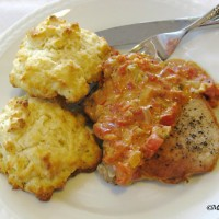 Pork Chops With Biscuits & Tomato Gravy