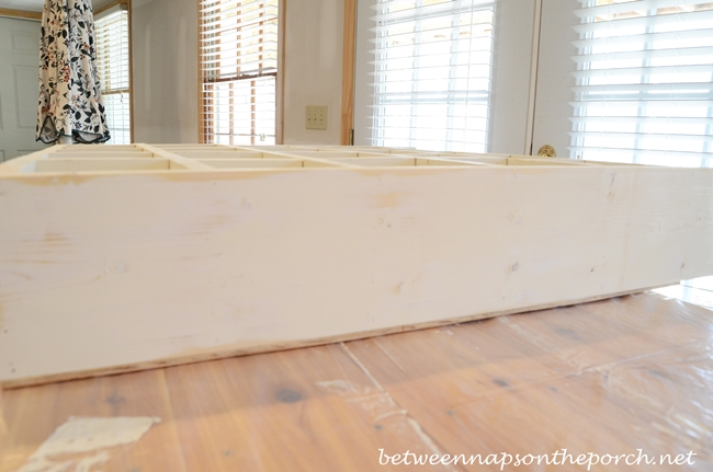 Sanding Where Caulked Over Nails for Cubby Organizer, Pottery Barn Knock-Off_wm