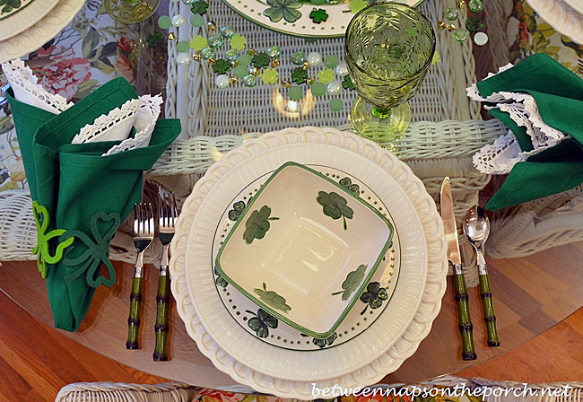 St. Patrick's Day Dishes with Shamrock and 4 Leaf Clovers