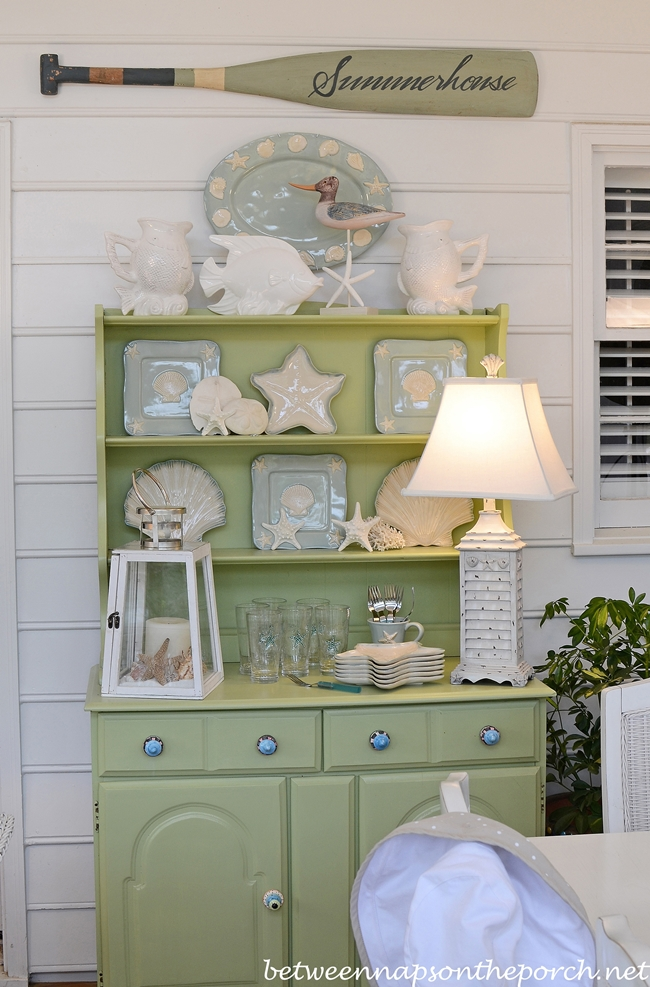 Beach Hutch Decorated with Beach Themed Dishes