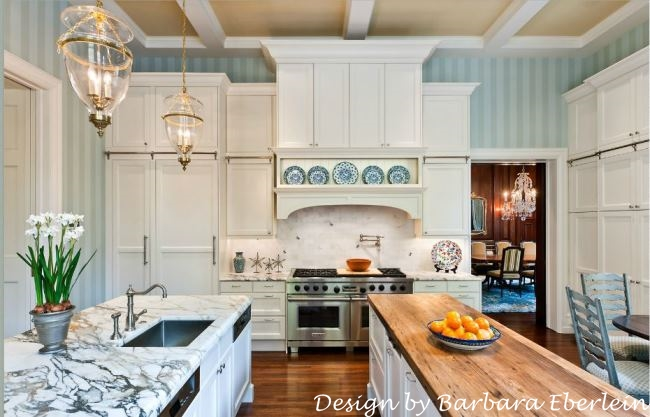 Blue and White Kitchen with Marble Countertop