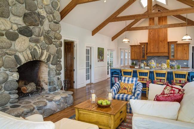 Cottage with Rock Stone Fireplace