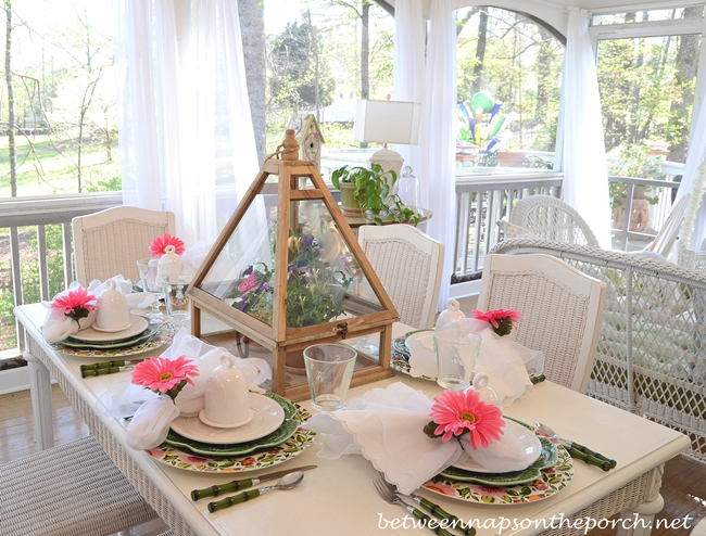 Easter Spring Table Setting Tablescape with Greenhouse Centerpiece
