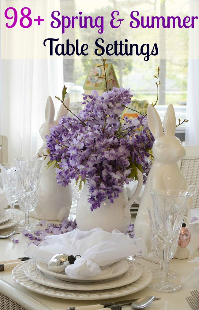 Easter Spring Table Setting Tablescape with White Bunny Rabbit and Wisteria Centerpiece 2