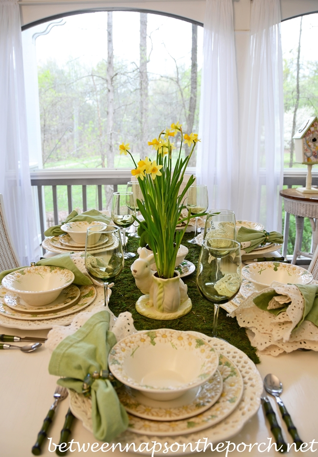 Easter Table Setting With Bunny And Jonquil Centerpiece