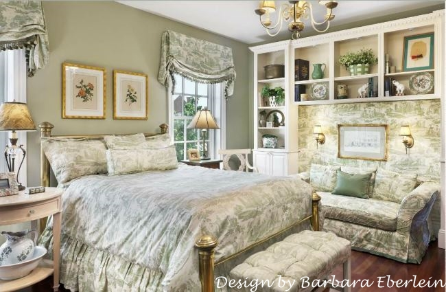 Gorgeous Green and White Toile Bedroom_wm