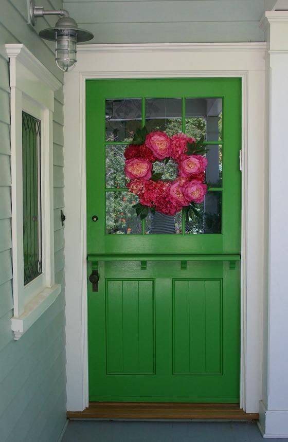 Green Dutch Door with Wreath