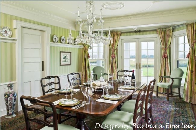 Green and White Striped Wallpaper in Formal Dining Room_wm
