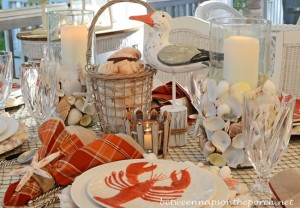 Nautical Beach Table Setting Tablescape With Lobster and Crab Plates