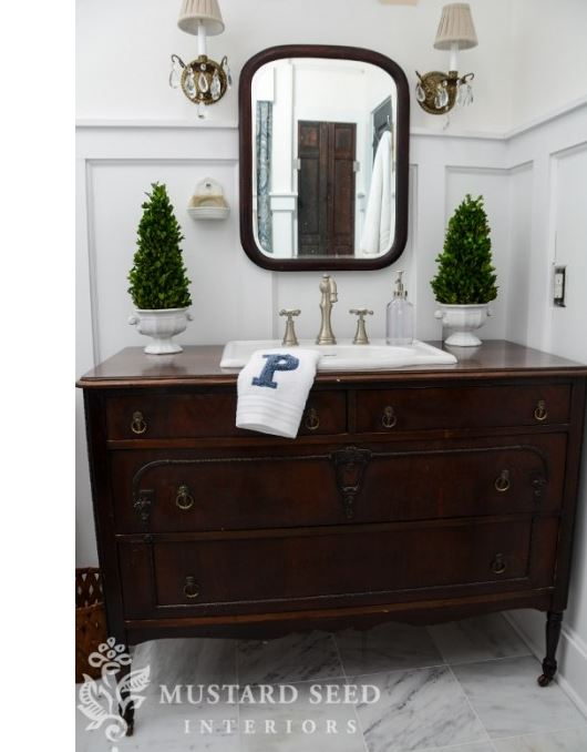 Turn a Dresser Into a Sink Vanity for a Bathroom