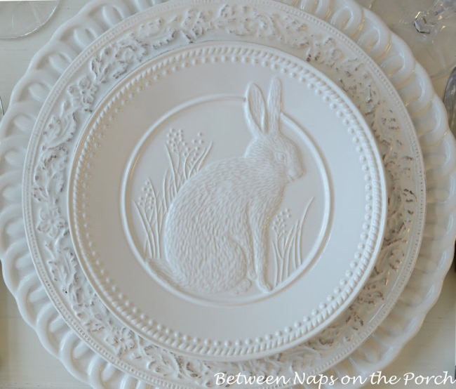White Bunny Plates for Easter from Pottery Barn