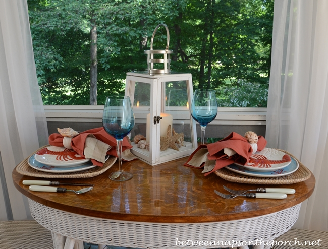 Beach Themed Table Setting in Aqua and Orange  with Lobster Plates