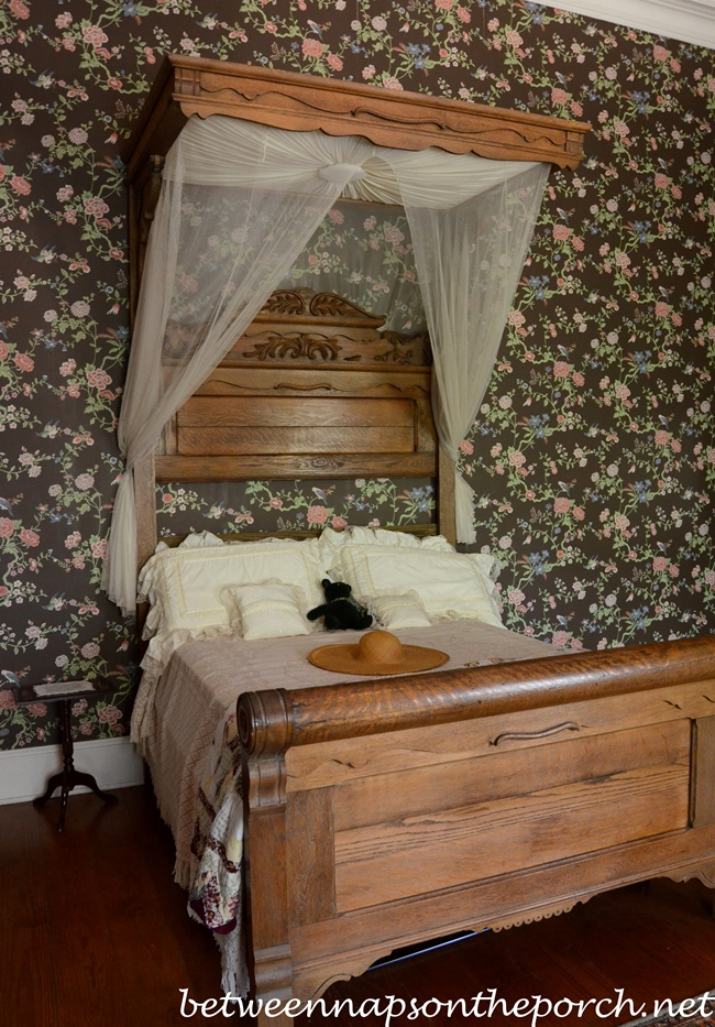 Greenwood Plantation Bedroom with Floral Wallpaper