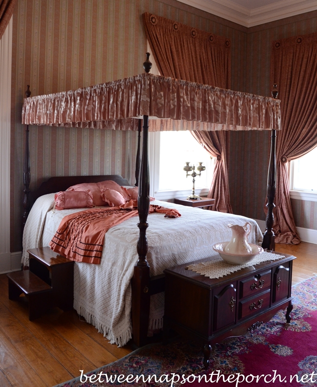 Greenwood Plantation Bedroom with Rose Colored Wallpaper, St. Francisville, Louisiana