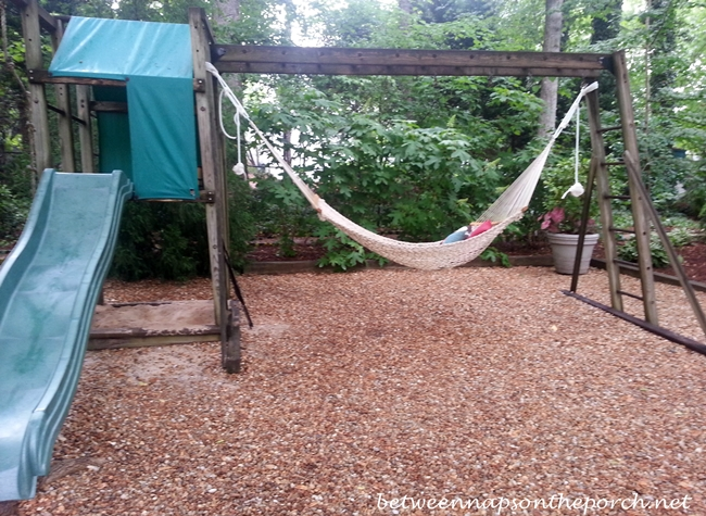 Hammock Hanging From Wood Play Set