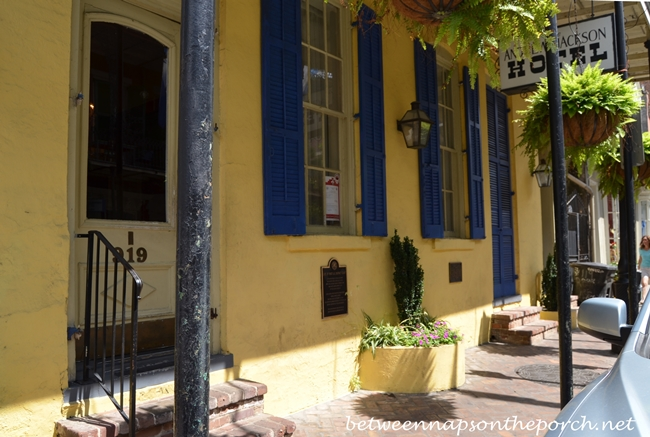 New Orleans French Quarter With Wrought Iron Balconies & Colorful Shutters 15