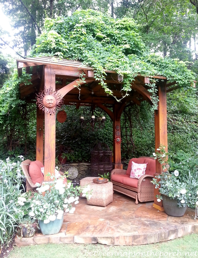 Pergola with seating area in the garden