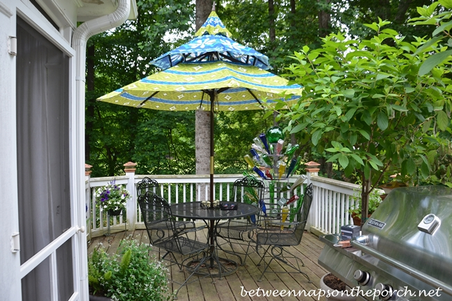 Fresh The colors in the umbrella are a great match for their outdoor furniture seen in this previous post A Secret Garden Party