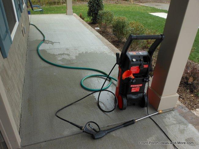 Pressue Wash a Porch to Remove Pollen