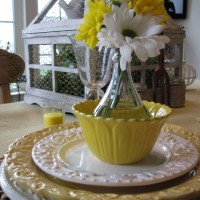 Spring Table Setting Tablescape in Yellow & White 05