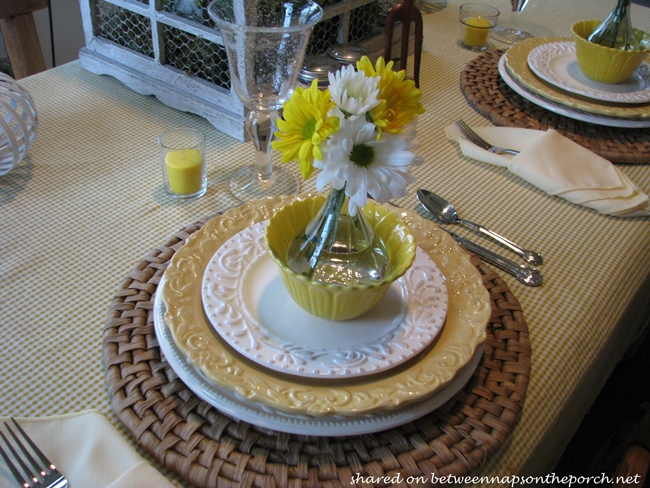 Spring Table Setting Tablescape in Yellow & White 13