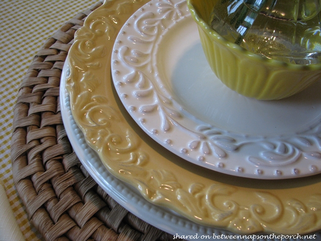 Spring Table Setting Tablescape in Yellow & White 14