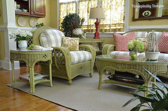 Sunroom With Green Wicker