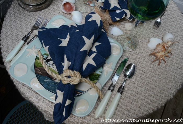 Beach Theme Table Setting With  Square Knot Rope Napkin Rings