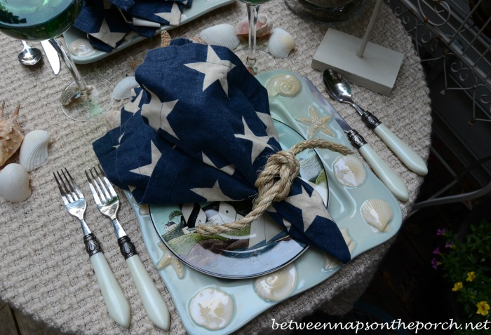 Coastal Beach Table Setting With  Square Knot Rope Napkin Rings