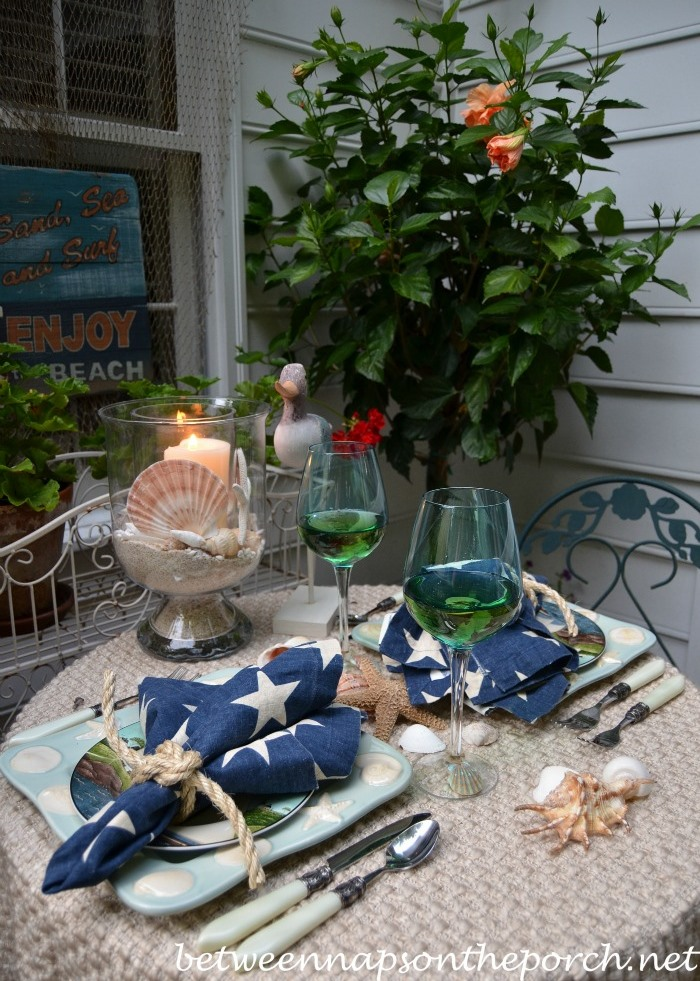 Coastal Tablescape with Shell Dishware