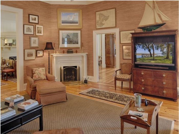 Den with Grasscloth Walls, Savannah Island Home