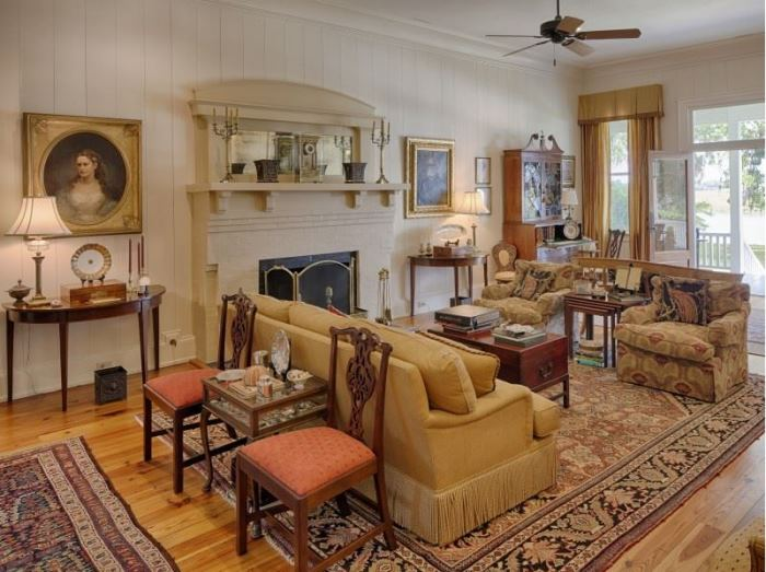 Elegant Living Room in Historic Southern Island Savannah Home 3