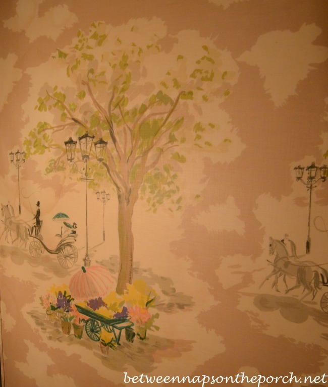 Fabric on Walls in 1950's Bathroom, Williams New Orleans Home