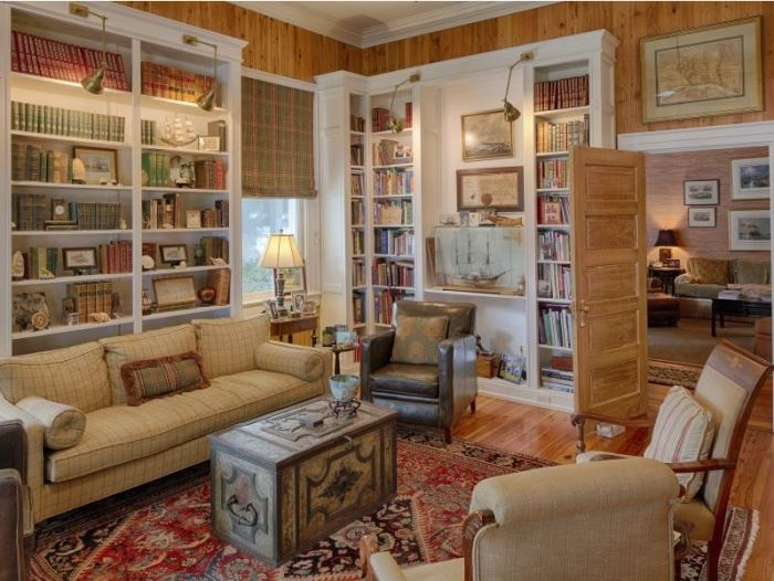 Library in Historic Island Home