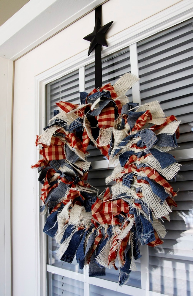 Patriotic Wreath Made From Scrap Denim, Burlap and Check Fabric