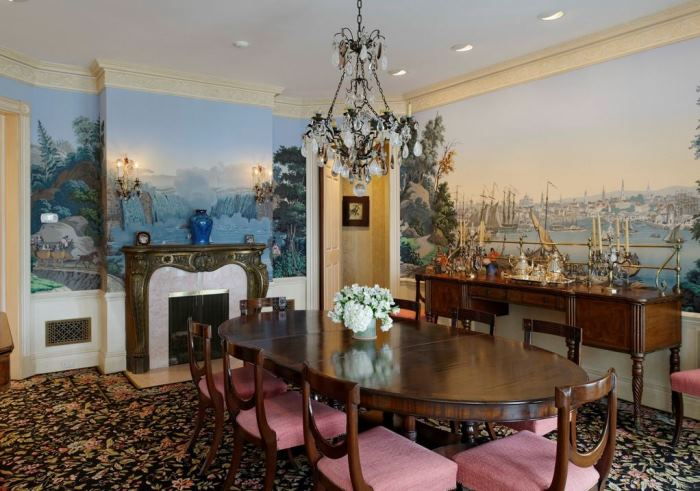 Ron Howard's Dining Room with Historic Mural, Conyers Farm, Greenwich, CT
