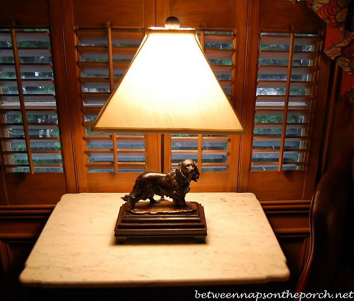 Sculpted Bronze Dog Lamp