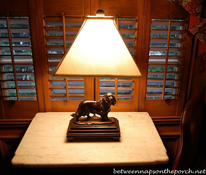 Sculpted Bronze Dog Lamp