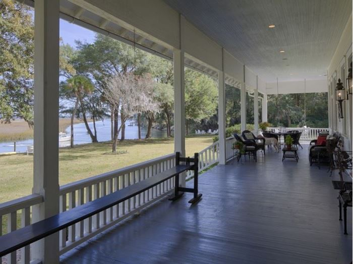 Southern Porch Overlooking Water in Savannah, Georgia