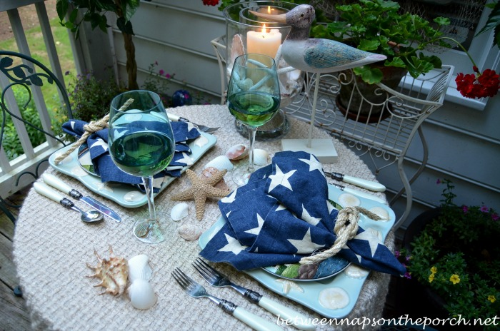 Star Napkins and Nautical Rope Napkin Rings