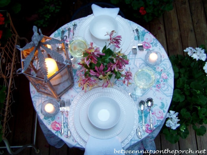 Summer Table Setting With White Dishware