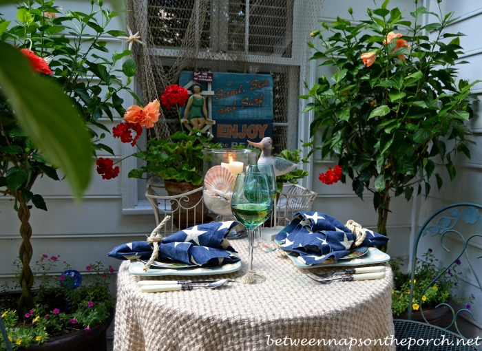 Summer Table Setting for Two Outdoors