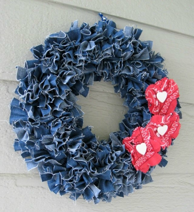 Wreath Made With Repurposed Denim Jeans
