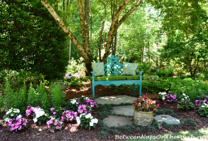 Aqua Turquoise Garden Bench in the Garden